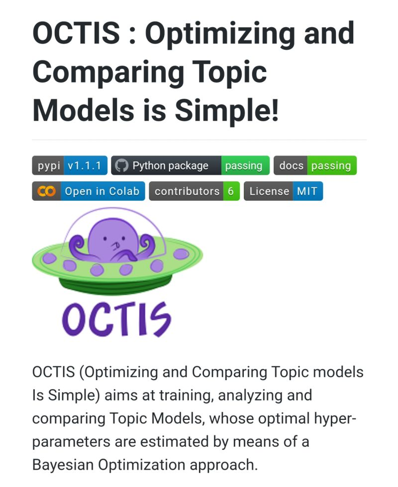 OCTIS: Comparing and Optimizing Topic models is Simple!