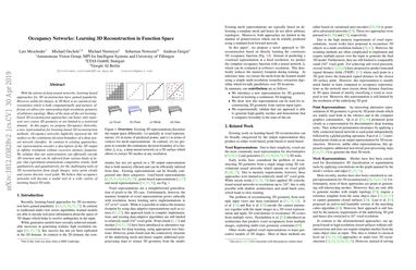 Papers With Code : Occupancy Networks: Learning 3D Reconstruction in