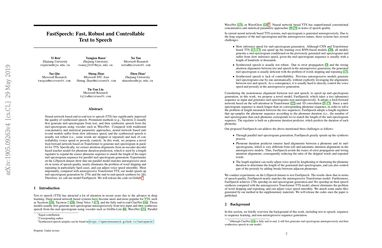 Papers With Code : FastSpeech: Fast, Robust and Controllable