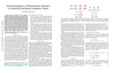 Natural Emergence of Heterogeneous Strategies in Artificially Intelligent Competitive Teams