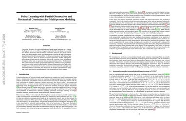 Policy learning with partial observation and mechanical constraints for multi-person modeling