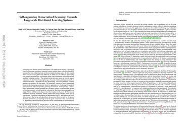 Self-organizing Democratized Learning: Towards Large-scale Distributed Learning Systems