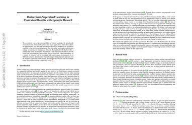 Online Semi-Supervised Learning in Contextual Bandits with Episodic Reward
