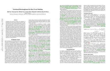 Variational Disentanglement for Rare Event Modeling