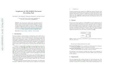 Longformer for MS MARCO Document Re-ranking Task
