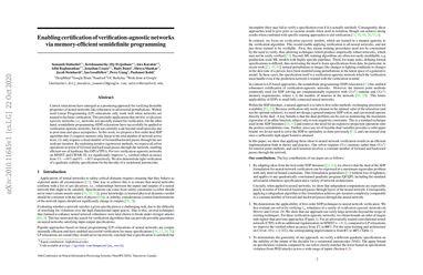 Enabling certification of verification-agnostic networks via memory-efficient semidefinite programming