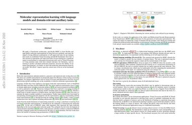 Molecular representation learning with language models and domain-relevant auxiliary tasks