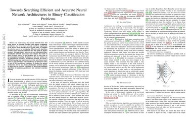 Towards Searching Efficient and Accurate Neural Network Architectures in Binary Classification Problems