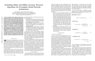 Evaluating Online and Offline Accuracy Traversal Algorithms for k-Complete Neural Network Architectures