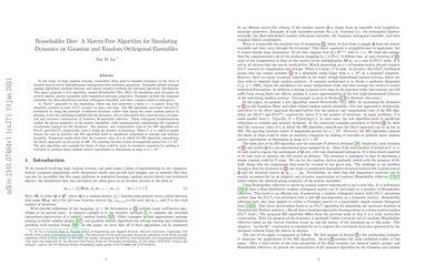 Householder Dice: A Matrix-Free Algorithm for Simulating Dynamics on Gaussian and Random Orthogonal Ensembles