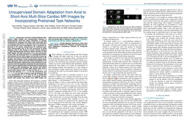 Unsupervised Domain Adaptation from Axial toShort-Axis Multi-Slice Cardiac MR Images byIncorporating Pretrained Task Networks