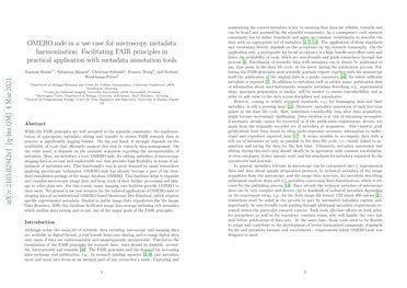 OMERO.mde in a use case for microscopy metadata harmonization: Facilitating FAIR principles in practical application with metadata annotation tools
