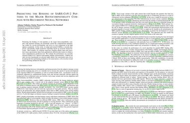 Predicting the Binding of SARS-CoV-2 Peptides to the Major Histocompatibility Complex with Recurrent Neural Networks