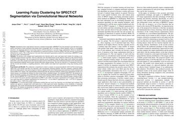 Learning Fuzzy Clustering for SPECT/CT Segmentation via Convolutional Neural Networks
