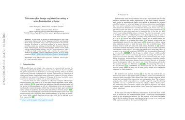 /antonfrancois/ Metamorphic image registration using a semi-Lagrangian scheme