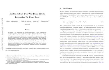 /xiaomanluo/ Double-Robust Two-Way-Fixed-Effects Regression For Panel Data