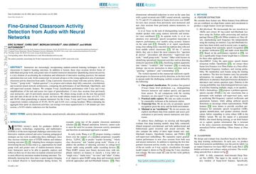 /hutchresearch/ Fine-Grained Classroom Activity Detection from Audio with Neural Networks
