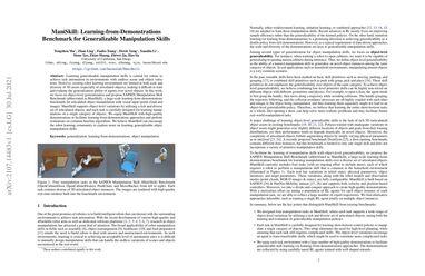/haosulab/ ManiSkill: Learning-from-Demonstrations Benchmark for Generalizable Manipulation Skills