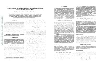 Node-screening tests for L0-penalized least-squares problem with supplementary material